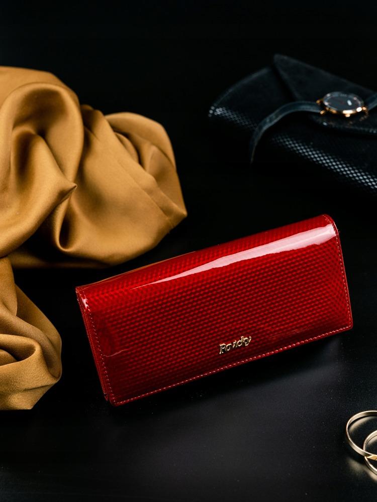 Dámská lesklá peněženka z kůže Donatella červená