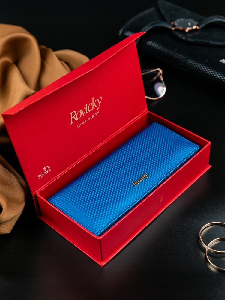 Dámská lesklá peněženka z kůže Donatella modrá
