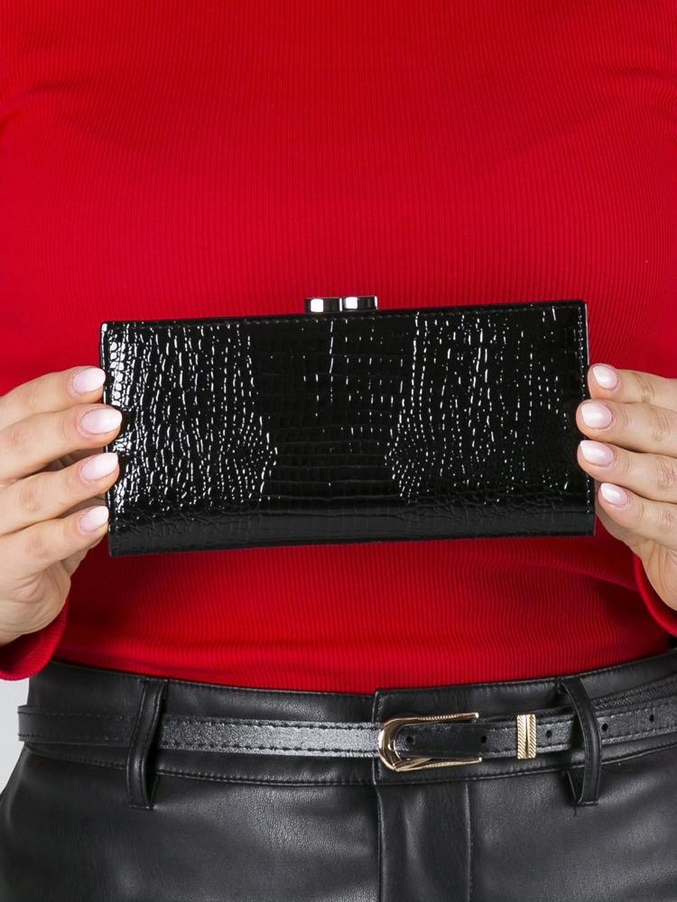 Lakovaná kožená dámská peněženka Anji černá