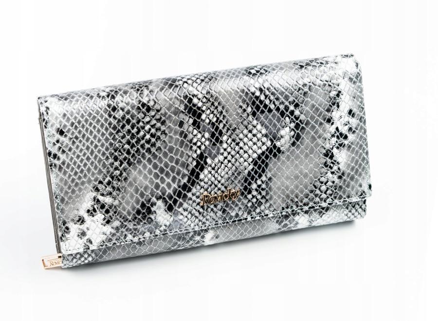 Kožená dámská peněženka s imitací hadí kůže, stříbrná