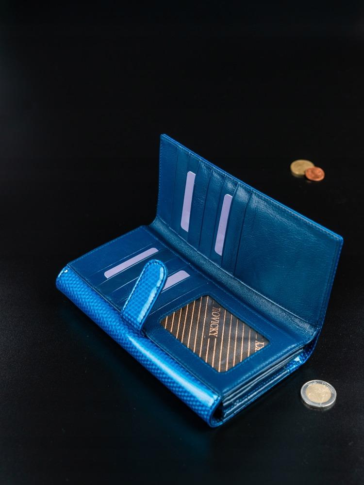 Kožená peněženka s malými čtverečky Gloa, modrá