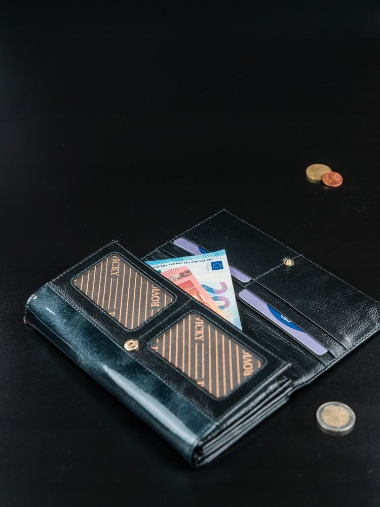 Kožená lakovaná třpytící peněženka Light, černá