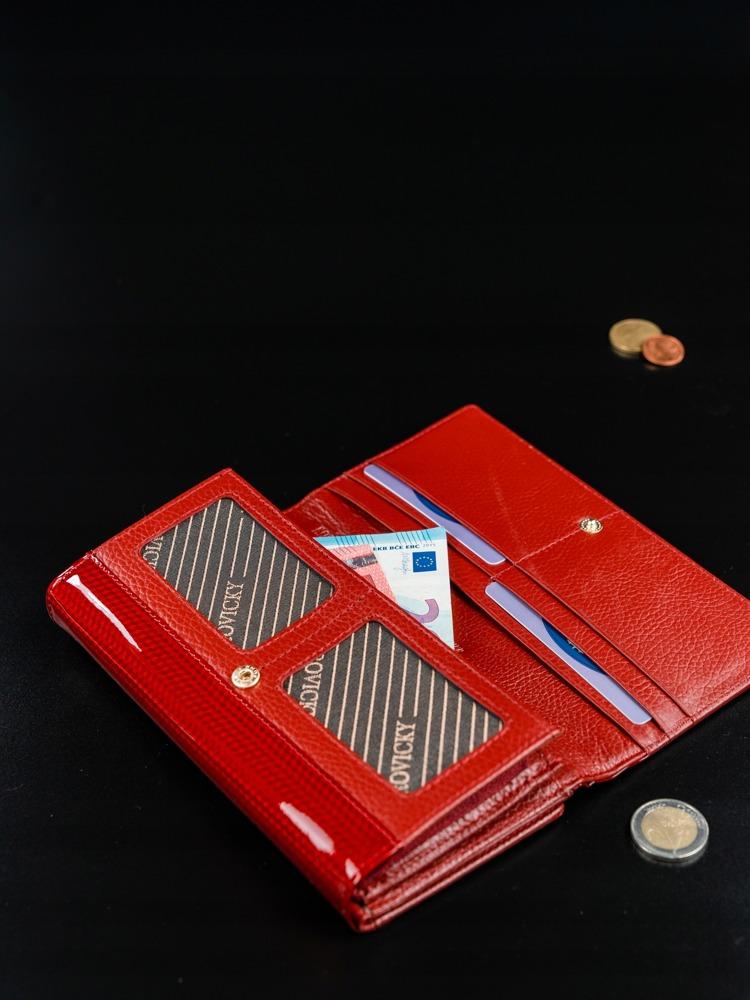 Kožená peněženka s malými čtverečky Gloa, červená