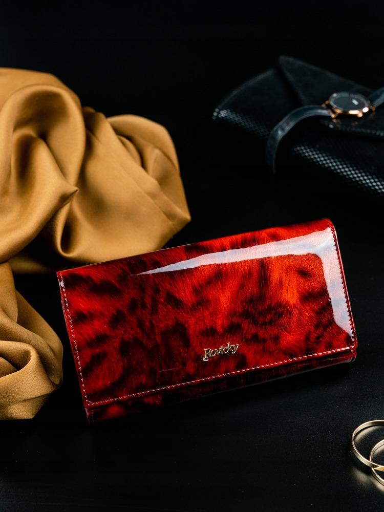 Dámská kožená peněženka se vzorem kožešiny Lea, červená