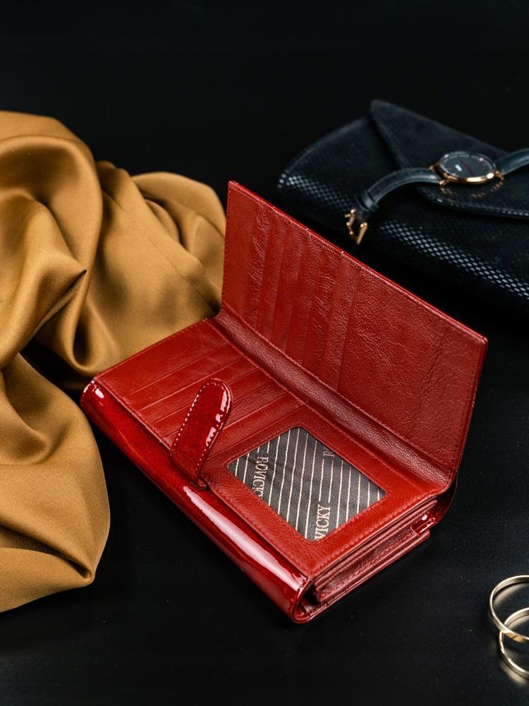Kožená lakovaná třpytící peněženka Light, červená