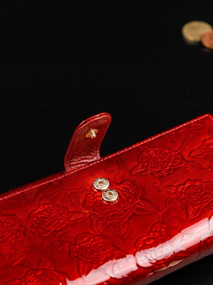 Lakovaná peněženka s růžemi z kůže Jeana, červená