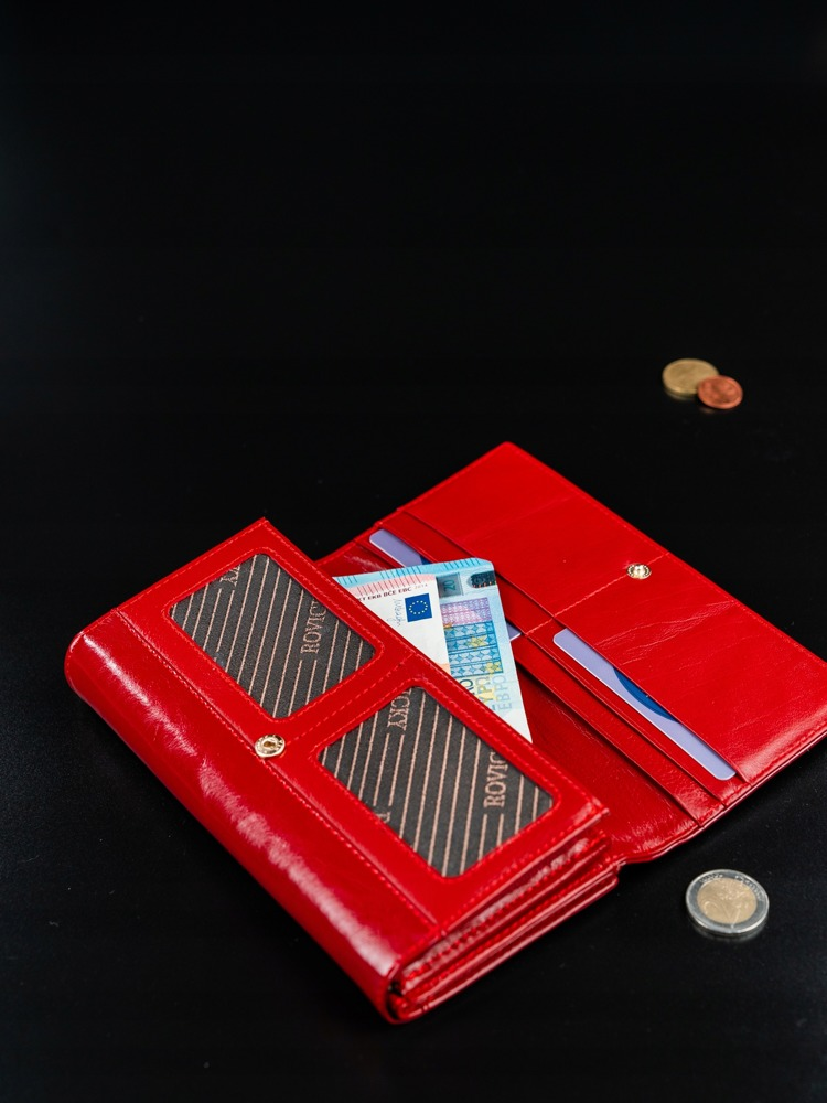 Hladká kožená peněženka Rebarbora, červená