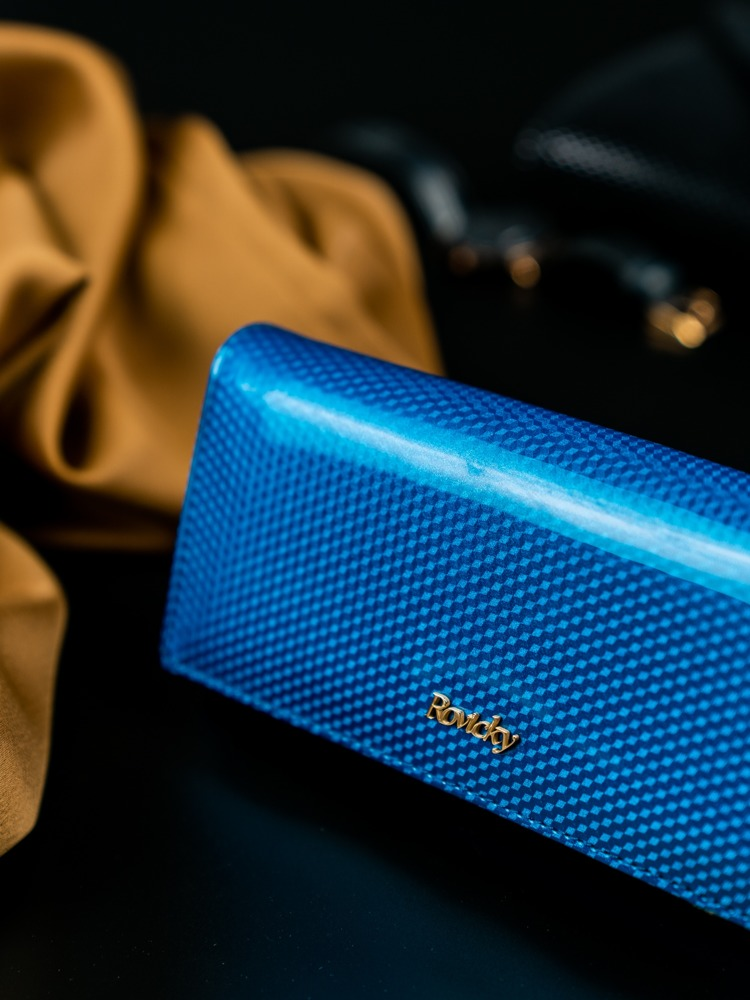 Kožená lakovaná dámská peněženka Joanne, modrá