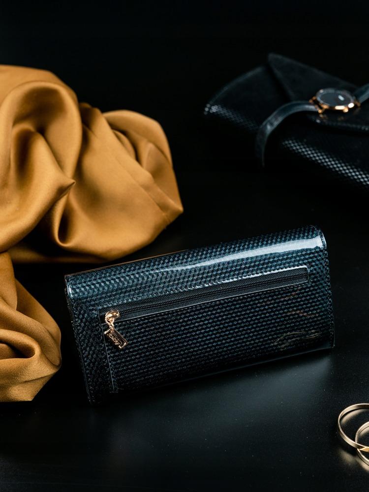 Kožená lakovaná dámská peněženka Joanne, černá