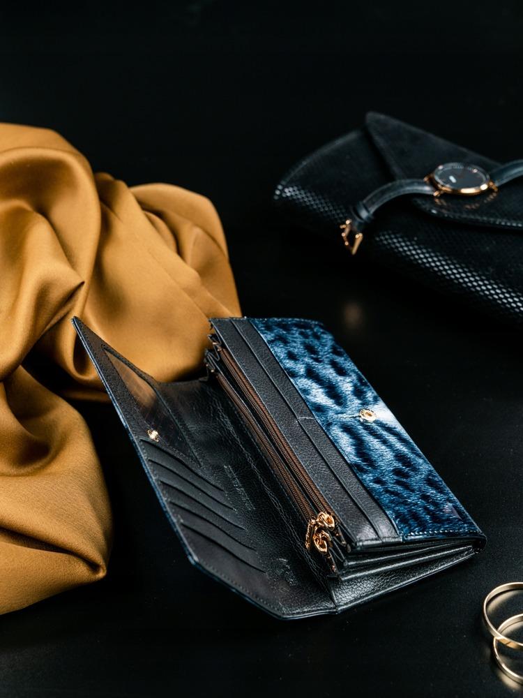 Kožená lakovaná peněženka se zvířecím vzorem Kita, černá