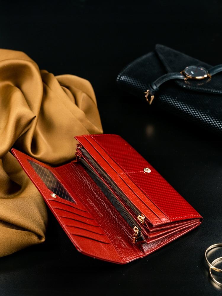 Kožená lakovaná dámská peněženka Joanne, červená