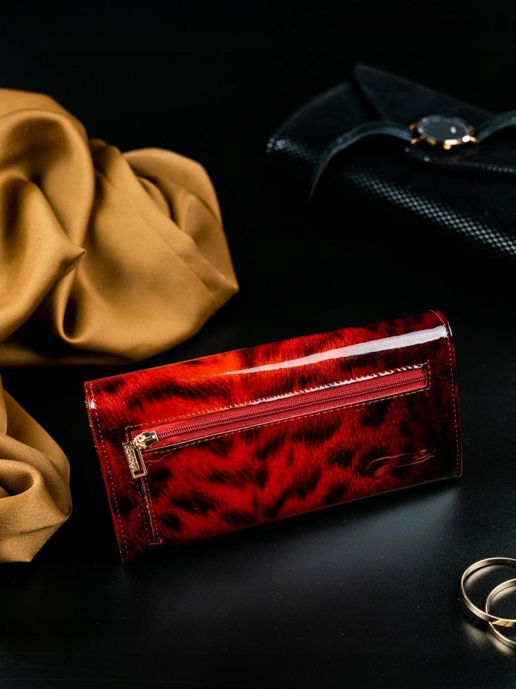 Kožená lakovaná peněženka se zvířecím vzorem Kita, červená