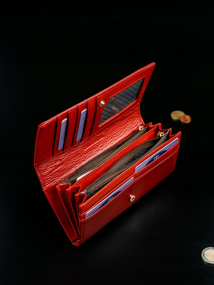 Klasická dámská kožená peněženka Ruby, červená