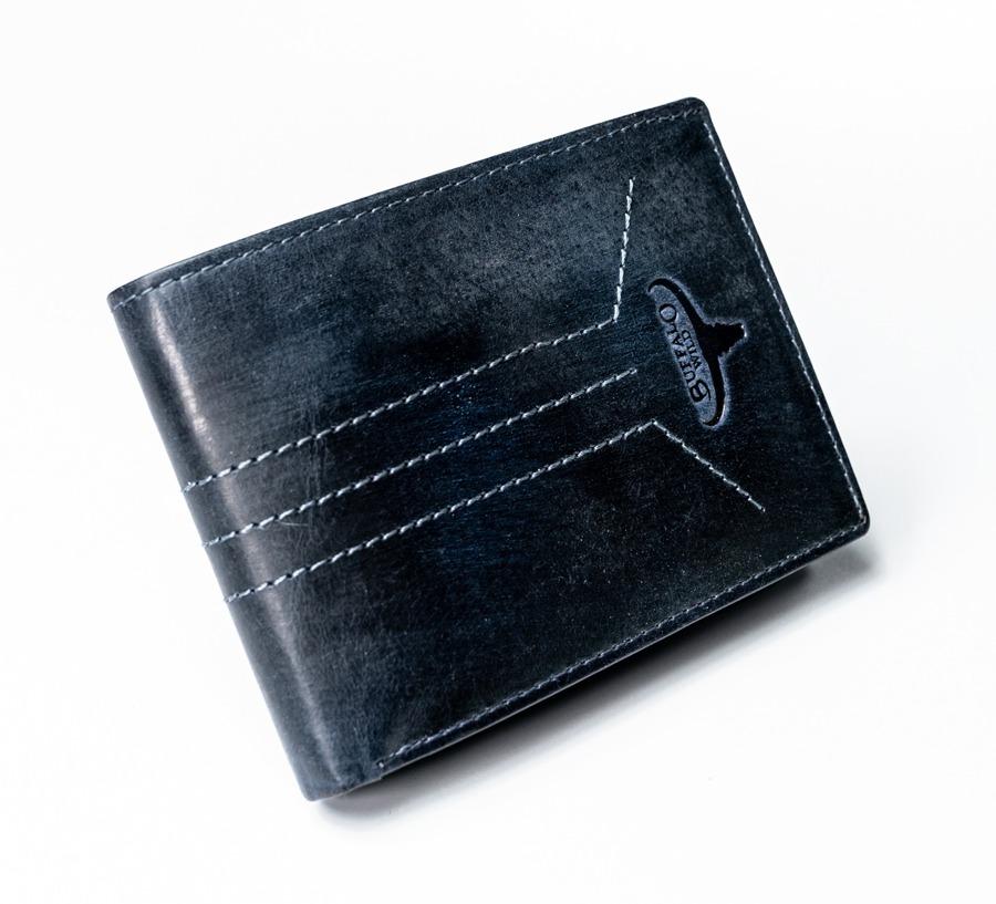 Modrá pánská prošívaná kožená peněženka Jone