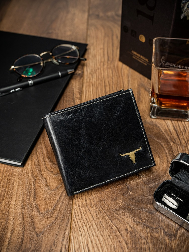 Pánská peněženka z přírodní kůže Trevor, černá