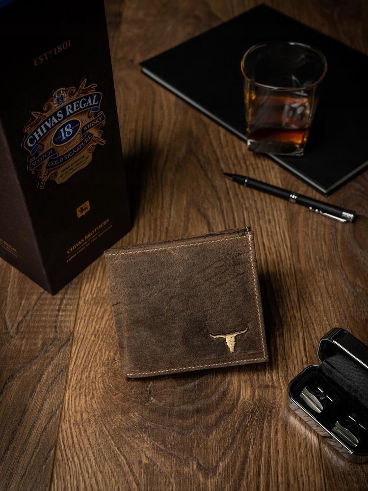 Pánská kožená peněženka na šířku Dan, světle hnědá