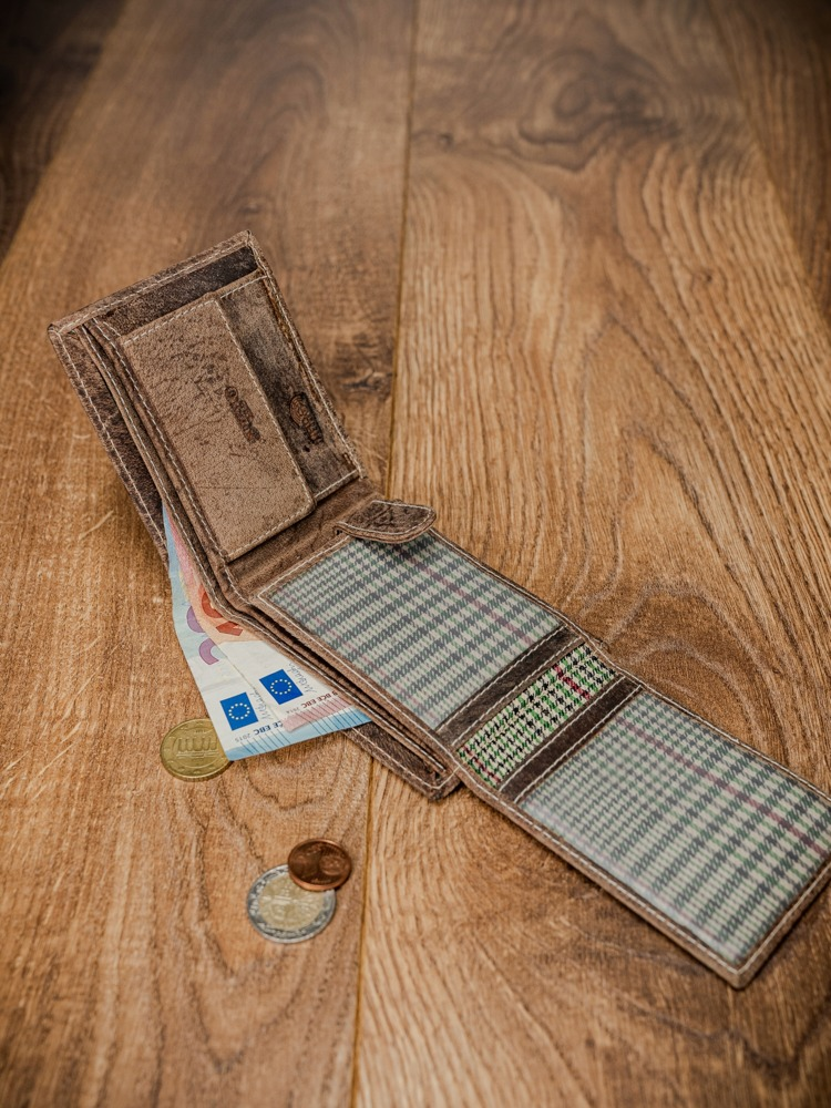 Pánská kožená peněženka na šířku Buffalo, hnědobéžová