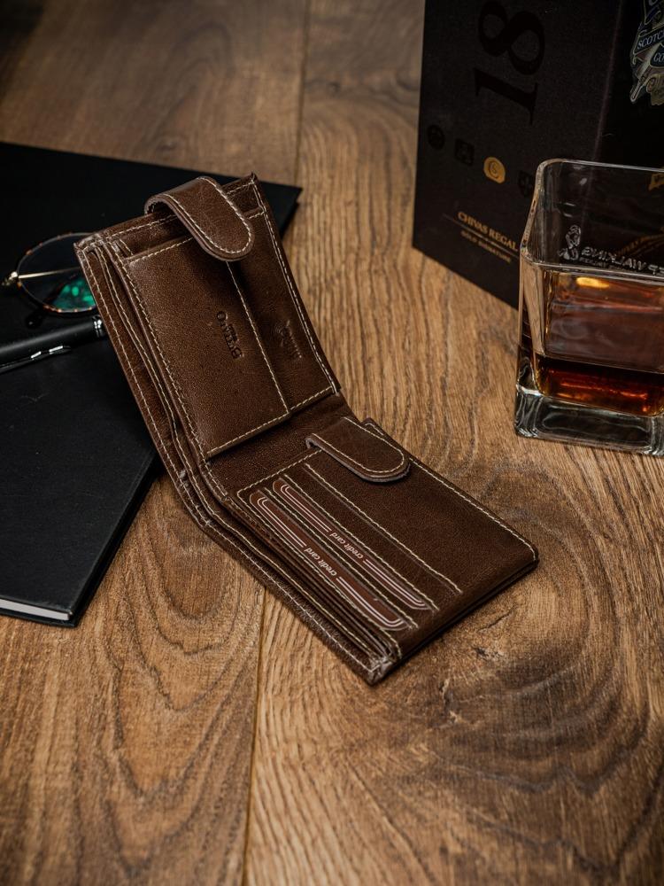 Kožená pánská peněženka se sponou Ray, hnědá
