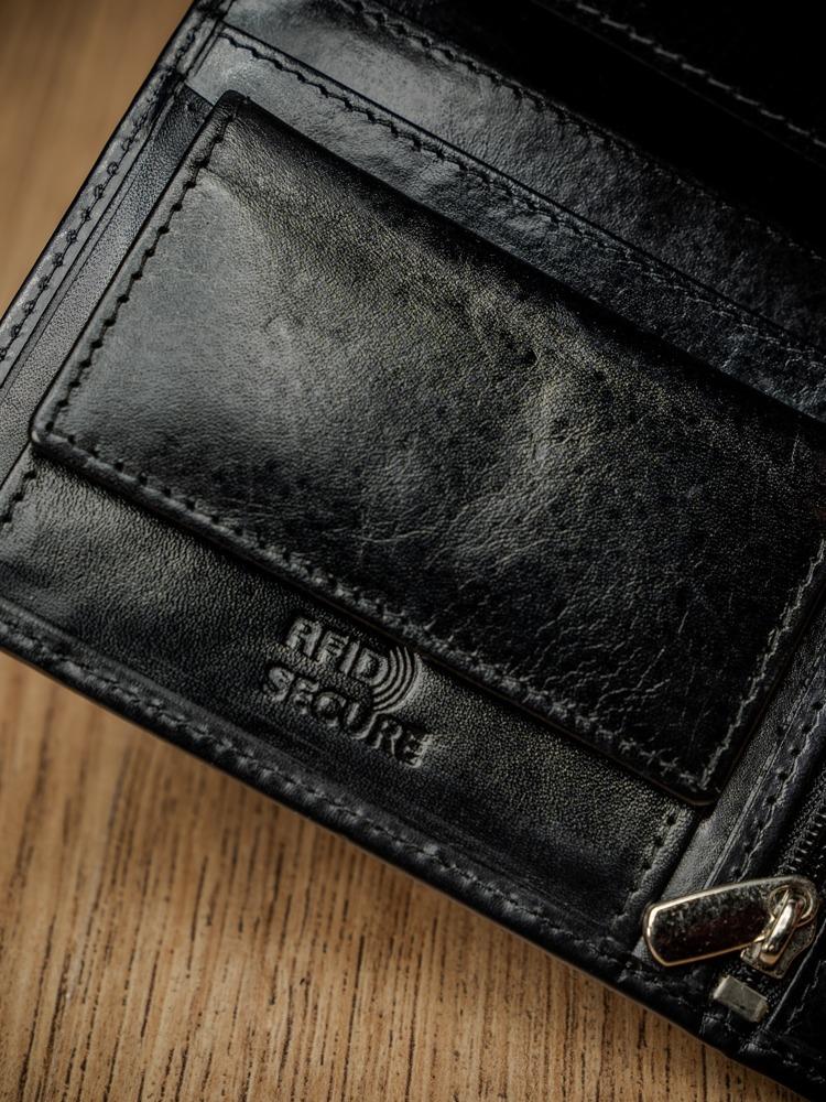 Luxusní pánská kožená peněženka bez přezky Randy, černá