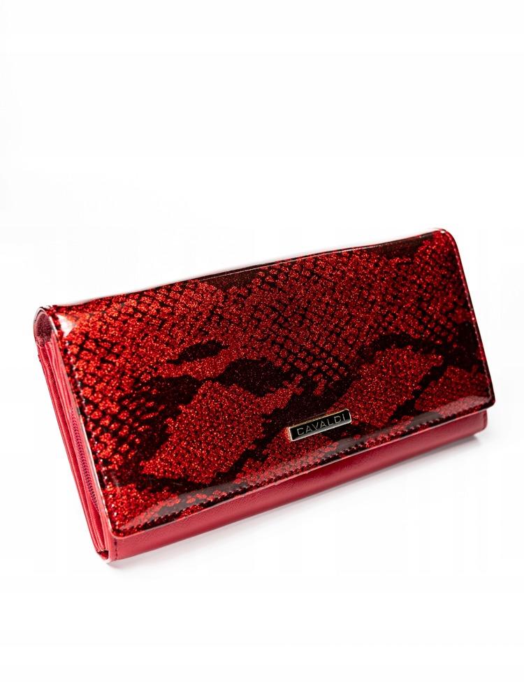 Kožená penženka se vzorem hadí kůže Barbora, červená