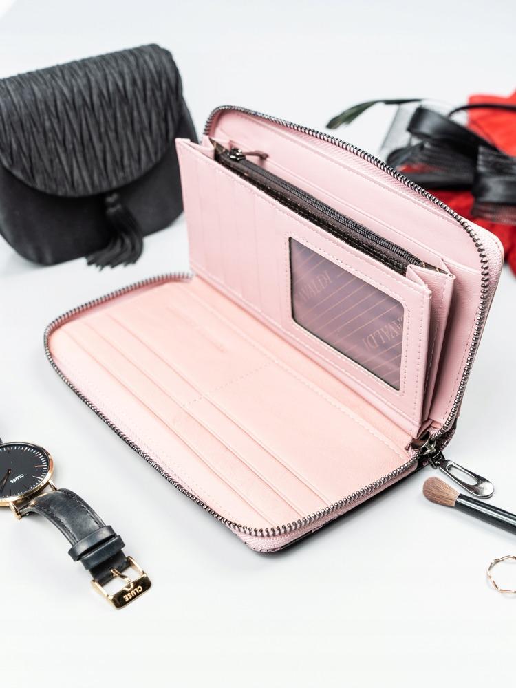 Kožená peněženka na zip se vzorem hadí kůže Rosalind, růžová