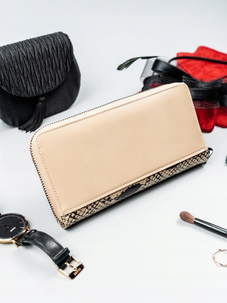 Kožená peněženka na zip se vzorem hadí kůže Rosalind, zlatá