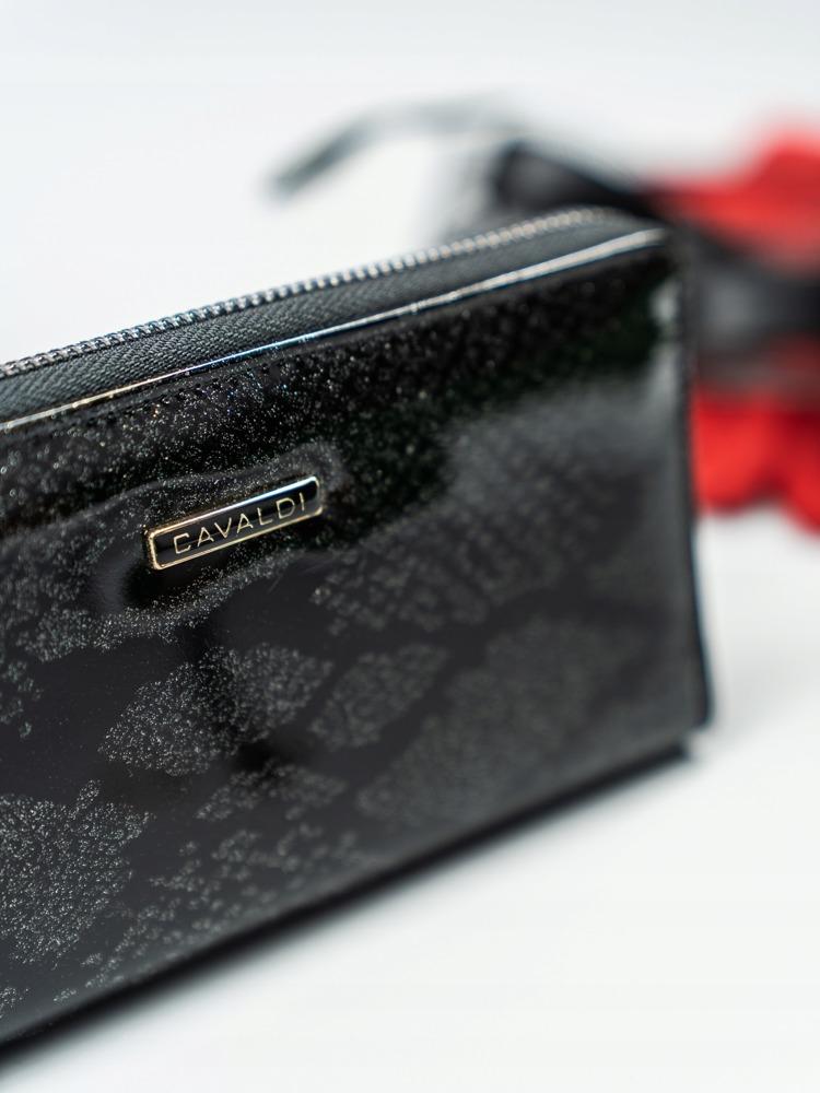Kožená peněženka na zip se vzorem hadí kůže Rosalind, černá