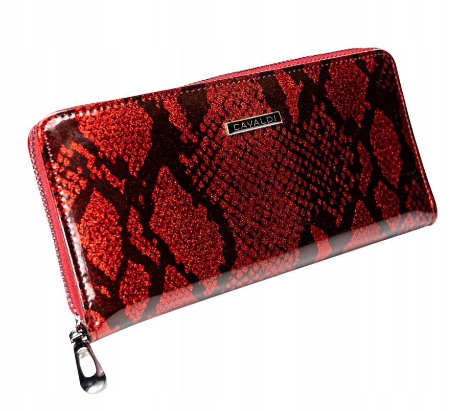 Kožená peněženka na zip se vzorem hadí kůže Rosalind, červená