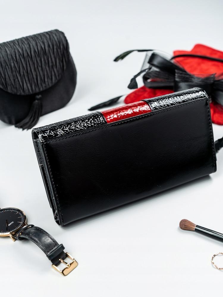 Kožená lakovaná peněženka Shirley, červená