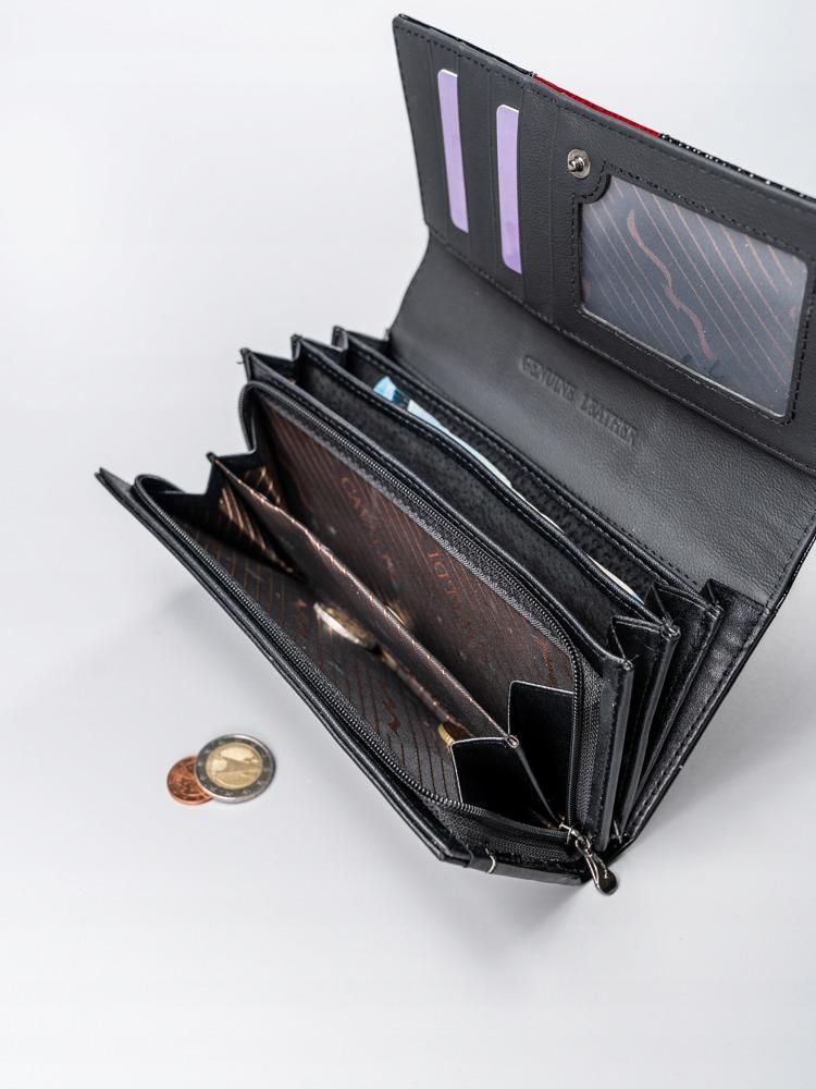 Kožená lakovaná peněženka Shirley, červená hladká