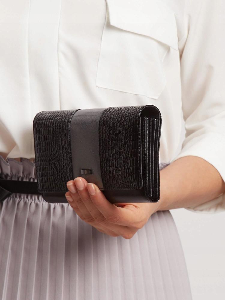 Kožená lakovaná peněženka Shirley, šedá
