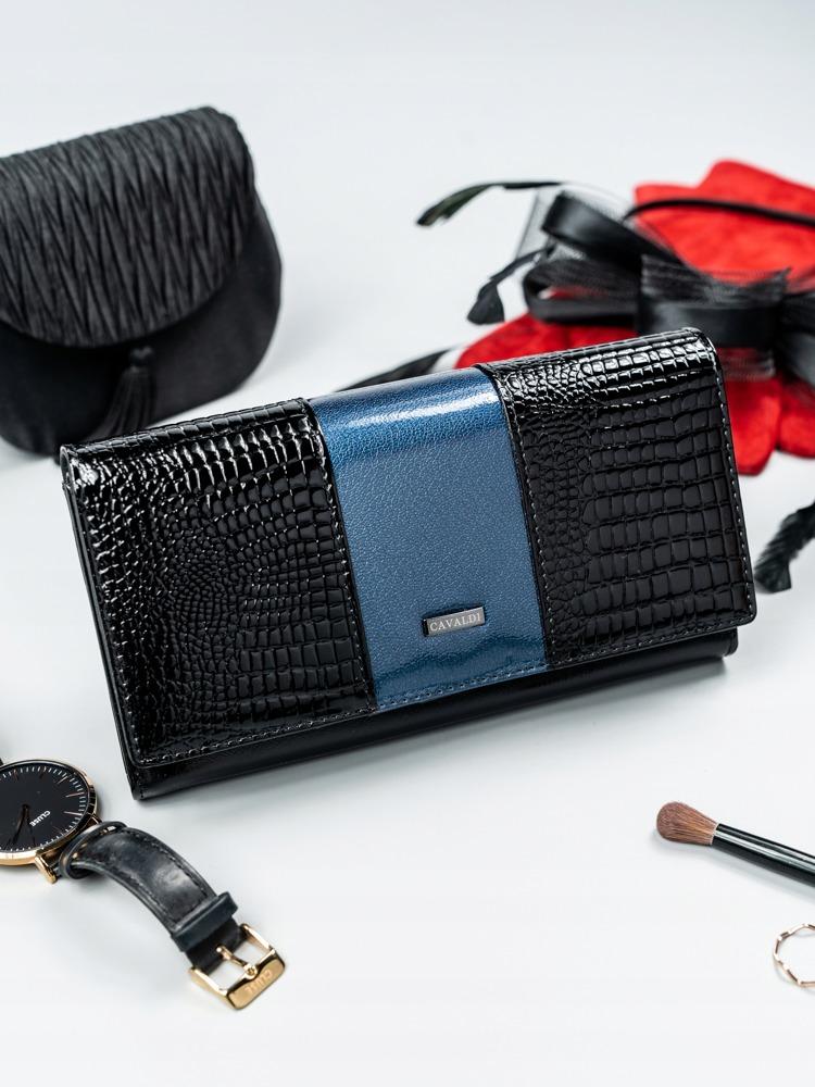 Kožená lakovaná peněženka Shirley, modrá