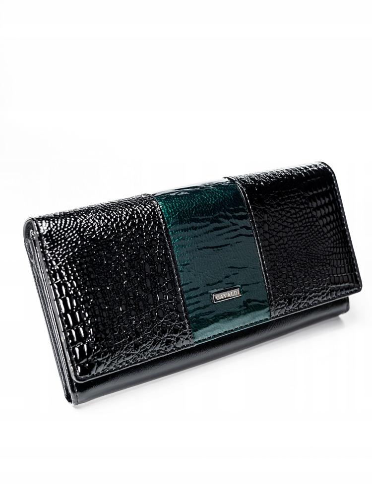 Kožená lakovaná peněženka Shirley, zelená