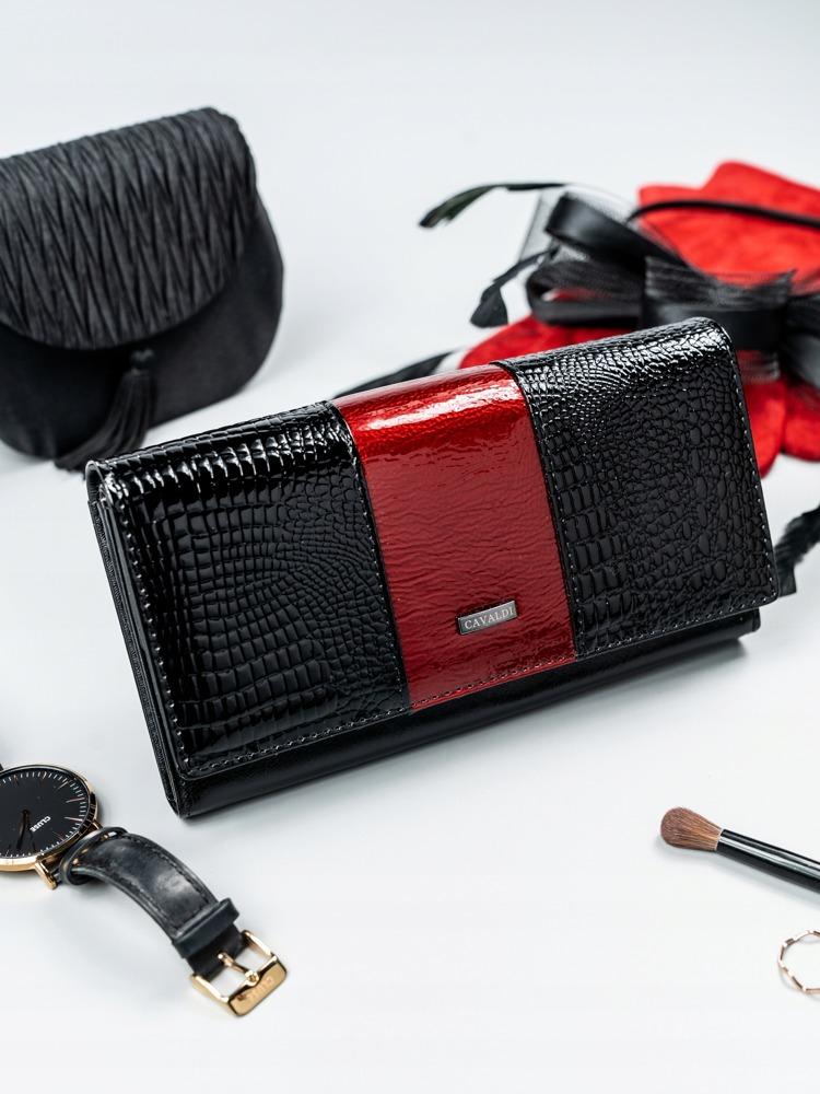 Kožená lakovaná peněženka Shirley, tmavě červená