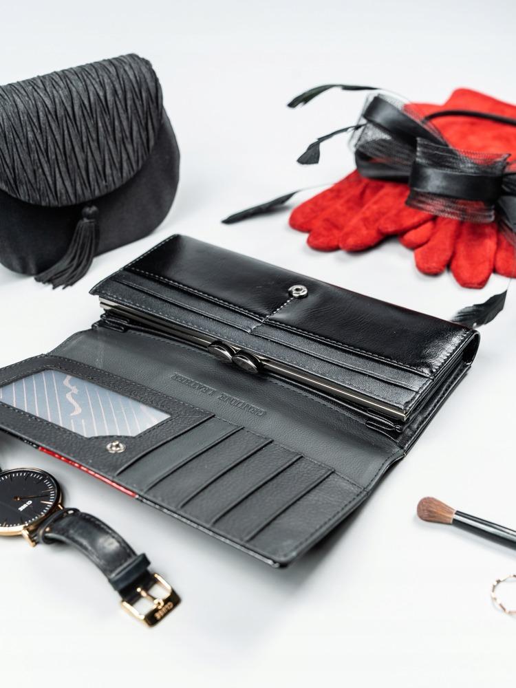 Exkluzivní lakovaná kožená peněženka Gita, červená