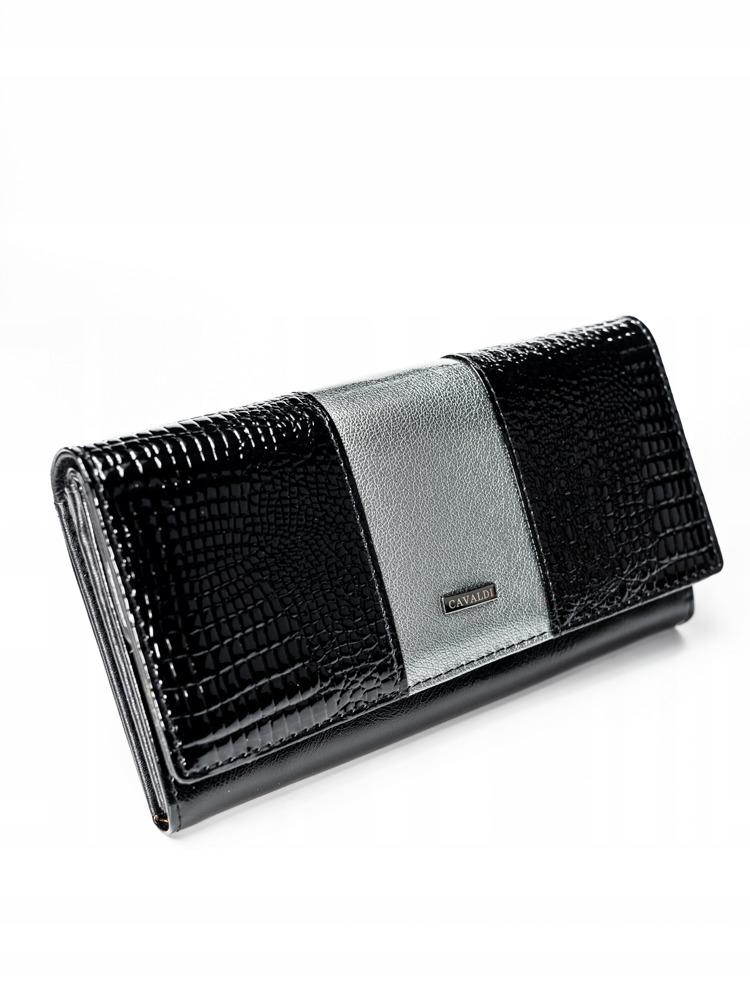 Exkluzivní lakovaná kožená peněženka Gita, šedá