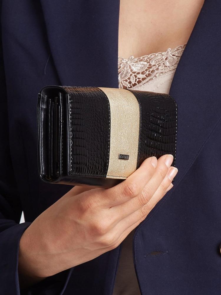 Exkluzivní lakovaná kožená peněženka Gita, zlatá