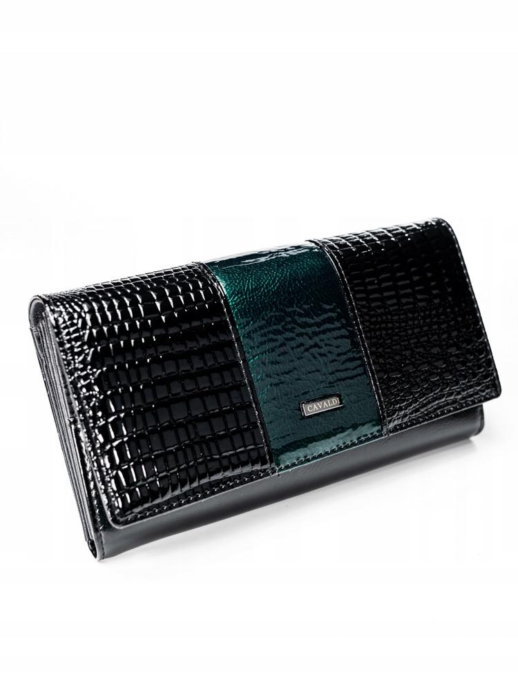 Exkluzivní lakovaná kožená peněženka Gita, zelená