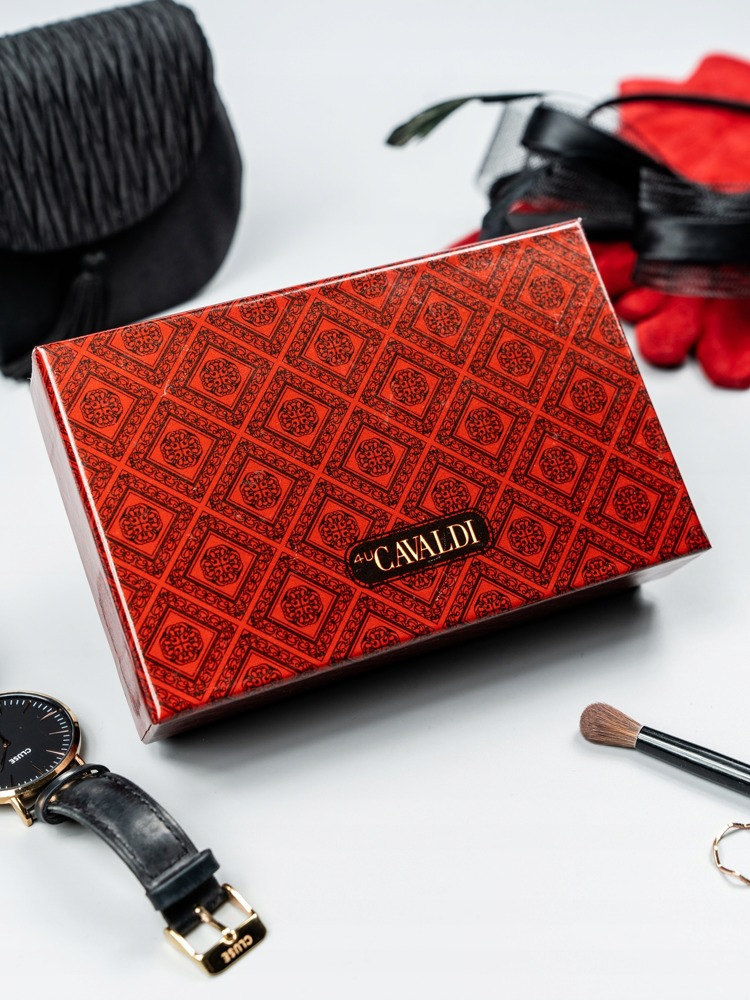 Moderní kožená lakovaná peněženka Tuly, šedá