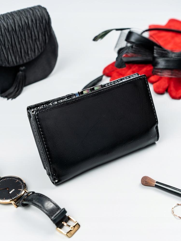 Moderní kožená lakovaná peněženka Tuly, modrá