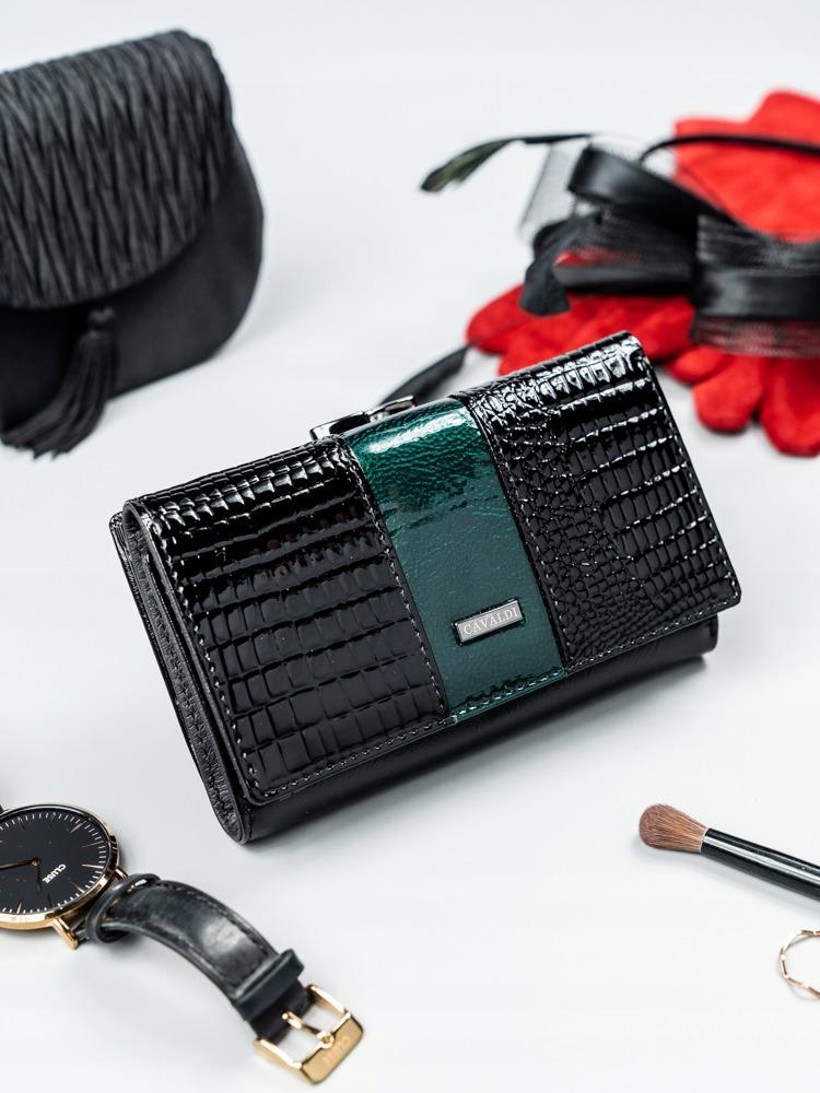 Moderní kožená lakovaná peněženka Tuly, zelená