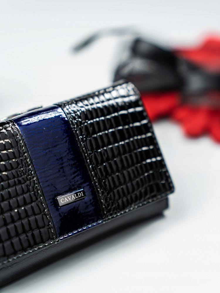 Moderní kožená lakovaná peněženka Tuly, tmavě modrá