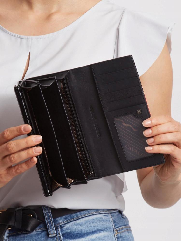 Zajímavá kožená lakovaná peněženka Tina, černo-červená hladká
