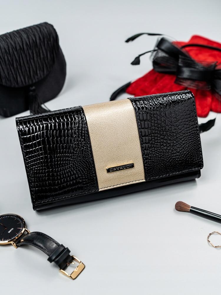 Elegantní dámská peněženka s klopou Alen, černo-zlatá