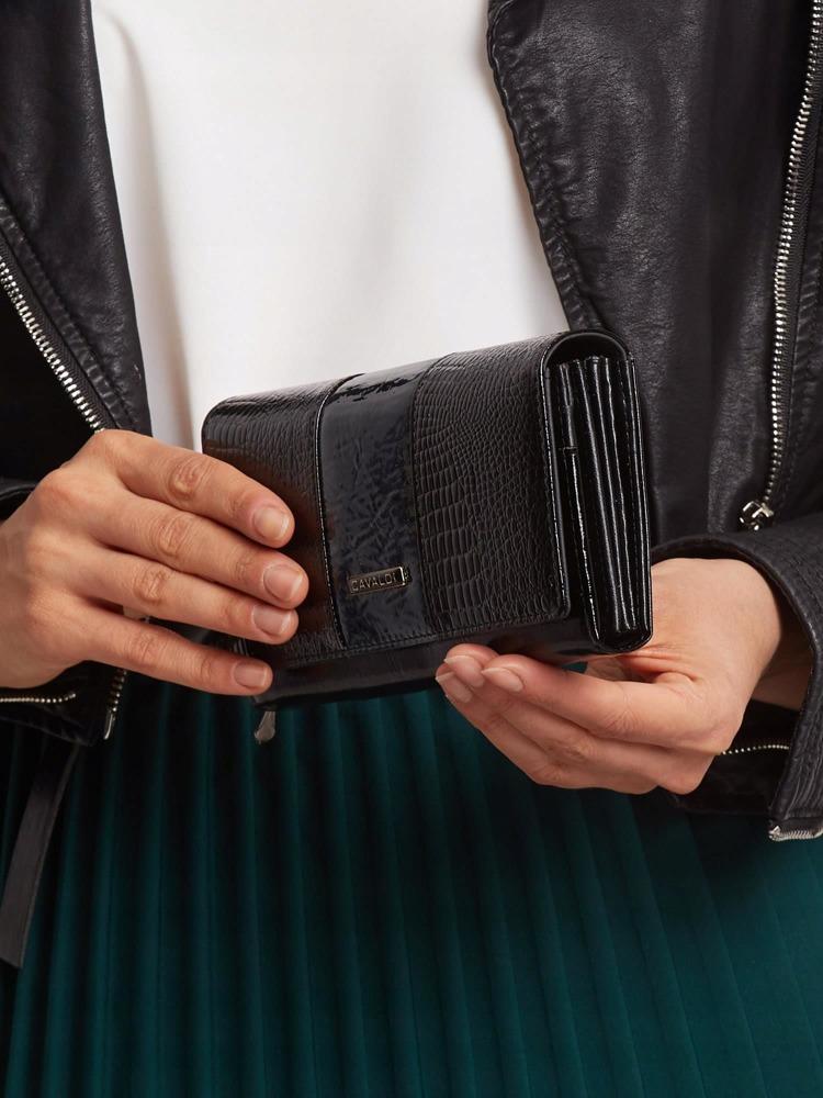 Elegantní dámská peněženka s klopou Alen, černo-zelená