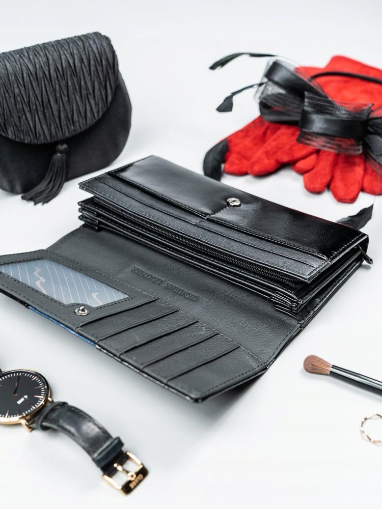 Elegantní dámská peněženka s klopou Alen, černo-modrá