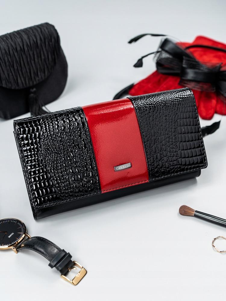 Elegantní dámská peněženka s klopou Alen, černo-červená