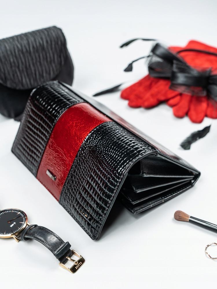 Elegantní dámská peněženka s klopou Alen, černo-tmavě červená