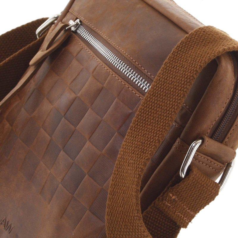 Stylová pánská kožená taška s jemným vzorem Tito koňaková
