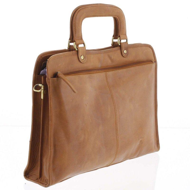 Pracovní pánská kožená taška na doklady Verdiana koňaková
